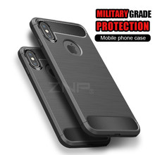 ZNP Carbon Fiber TPU Soft Silicone Cases Apple iphone X Phone Case Luxury Back Protector shell iphone X Case Coque