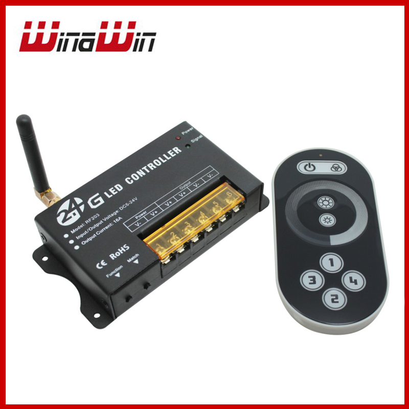2.4Ghz DC12-24V 16A 2.4G LED Light Single Color Dimmer Brightness Controller With RF Touch Panel Wheel Remote<br><br>Aliexpress