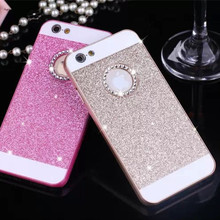 Hot Rhinestone Phone Case Bling Logo Window Luxury Cover for iPhone 8 4 4s 5 5s SE 6 6s 7 X Plus case Shinning back cover cases(China)