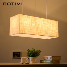 BOTIMI Nordic American Linen Pendant Lights Modern Restaurant Lamp Rectangle Cloth Fashion Dining Lighting Fixtures With Cords(China)