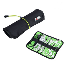 Portable Multi-functional Cables Tableware Toiletries Pens Soft Nylon Roll-up Storage Bag Travel Organizer - Size S (Black)