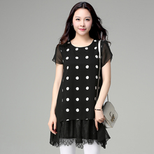 Make spot large size ladies summer short sleeve chiffon lace wave point splicing dress tide