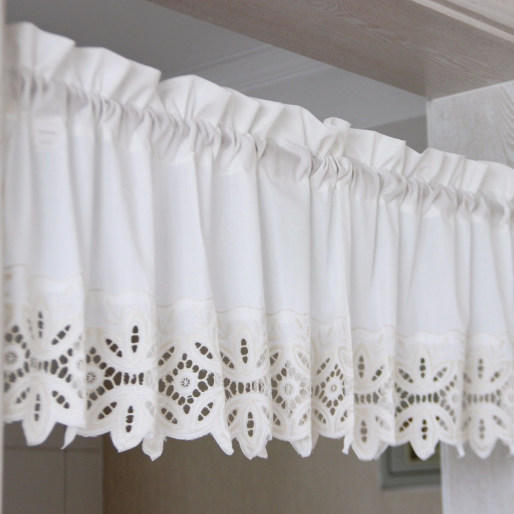 1Pc Home Decoration American Style Coffee Curtains Short For Kitchen Dining Room Embroidered Lace