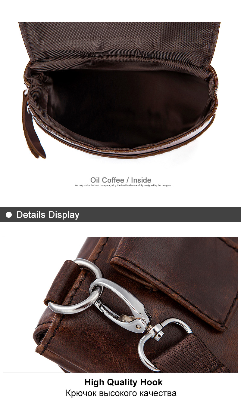 7 genuine leather bags waist packs for men