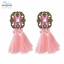 SUSENSTONE 2017 Women Fashion Rhinestones Wool Rope Tassels Earring Gorgeous Jewelry Retro Earring(China)