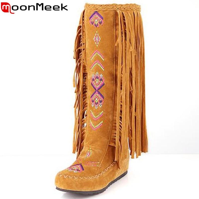 MoonMeek New fashion flats Bohemia tassel shoes knee high boots nubuck pu leather autumn winter women boots ladies long boots<br>