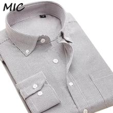 2017 new men's Oxford dress shirts High quality long sleeve plaid bussines casual formal button-down collar shirt men large