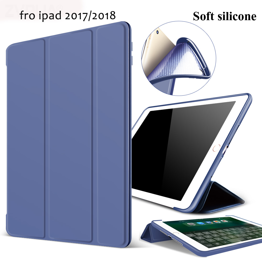 """Case for New iPad 9.7 inch 2017 2018 Release, ZVRUA Soft silicone bottom+PU Leather Smart Cover Auto Sleep For New iPad 9.7"""""""