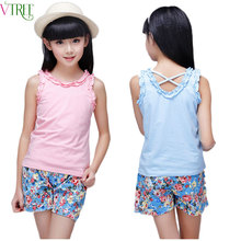 V-TREE summer 4-12 school girls tank tops solid child model top 100 cotton toddler underwear kids undershirt girls singlets(China)