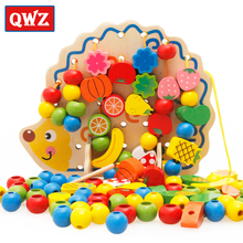 QWZ 3D Puzzle Learning Education Wooden Toys 82 Pcs Hedgehog Fruit Beads Montessori Oyuncak Educational Toy For Children Gifts(China)