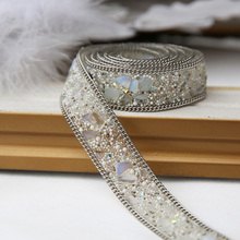 Clothing accessories handmade materials fabric applique patch Crystal Rhinestone lace trim Iron on or Sew on the clothes