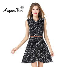 2017 Newest Women Dresses Skinny European Style Printed Cat Paws Sleeveless Fitted Ladies Summer Dress Women Polo Neck Dresses