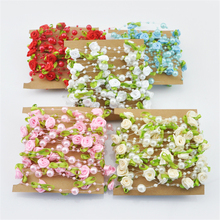 5m Bride Flower Decoration Rose Pearl Beaded Garland Strands Bride Hair Cloth Wedding Decoration Table Centerpieces Chandelier