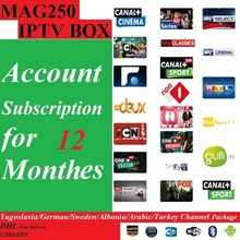 Free shipping 12Months Mag250/Mag245 IPTV software subscription with Yugoslavia/German/Sweden/Albania/Arabic 400+ channels