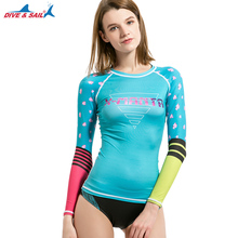 DIVE & SAIL Rash Guard Shirt Women Long Sleeve UV UPF 50 Surfing Swimsuit for Water Sports