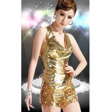 2016 Free Shipping Night Club Tassel Sequins PU Golden Black Red Hip Hop Dance Clothing Women Sexy Dance Wears Lady Costumes Hot