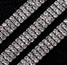 5 Yards 3 Rows 3mm SS12 Crystal Beads Chain For Wedding Cake Banding Trim Cake Ribbon Decoration Craft Sewing Trim