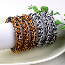 Fashion  transparent silicone hair band hair  jewelry hair band leopard print telephone wire band hair extension 20pcs/lot