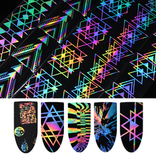 Holographic Laser Nail Foil 4*100cm Geometric Halloween Firework Wave Triangle Transfer Sticker Manicure Nail Art Decorations(China)