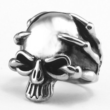 FUNIQUE Halloween Fashion Stainless Steel Dragon Claw Skull Men Ring Titanium Steel Antique Silver Punk Statement Rings