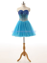 robe de cocktail Real Photo 1266P Young Girl Pretty Ball gown Beaded Rhinestone Tulle cocktail short dresses 2017