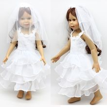 1 Set New Fashion 18-inch Beauty American Girl Handmade Dolls Clothes Manually White Wedding Dresses Children Christmas Gift(China)