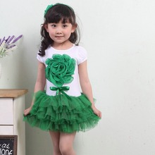 2016 Summer Sweet Kid Girls 3D Flower Party Tutu Dress One Piece Bowknot Dress 1-4 Years Rose Green