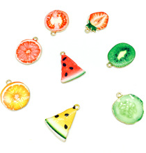 30pcs/lot Gold Color Enamel Kiwi Watermelon Strawberry Fruit Charm Pendants Necklace Making for Handmade DIY Accessories