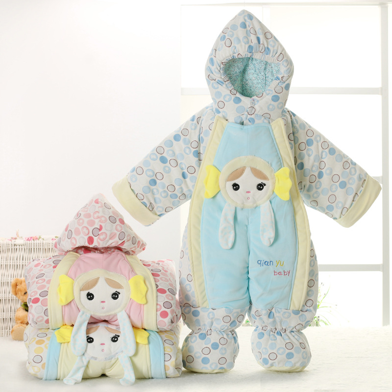 Cute Autumn Winter Cotton Polyester Baby Romper Long Sleeve Coverall Hooded Infant Jumpsuit with cartoon One Piece for Toodler<br><br>Aliexpress