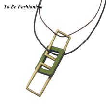 Fashion women long chain necklace cheap vintage 72cm rope leather wood pendant necklace jewelry gift N10053(China)