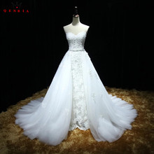 Buy Mermaid Detachable Skirt Lace Beaded Crystal Sexy Formal Wedding Dresses 2018 Real Photo Wedding Gown Custom Made XH61 for $384.00 in AliExpress store