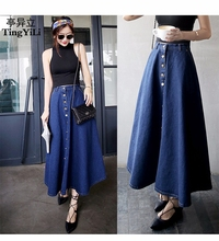 TingYiLi Button Front Long Denim Skirt Jeans Saias A Line Casual Maxi Skirt With Pockets Women Summer Style Jean Skirt Long(China)