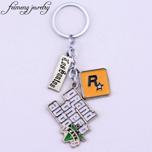 feimeng jewelry PS4 GTA 5 Game keychain Grand Theft Auto 5 Key Chain For Fans Xbox PC Rockstar Key Ring Holder 4.5cm Llaveros