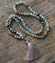 Vintage Necklace Unique 8MM Matte Amazonite Tibetan Charm Cute Tassel Necklace Women Beaded Designer Necklaces Dropshipping(China)