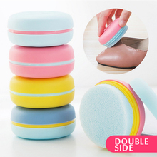 Contrast Color Double Sides Sponge Shoes Wiping Tools Colorful Macaron Type Portable Plastic Box Shoe Brushes Cleaning Brush(China)