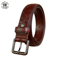 SLIGOLEEE 2017 Braided Leather Men's Belt Hand Knitted Genuine Leather Pin Buckle Casual Style Woven Tanned Cowhide red brown