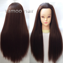 training head brown 65cm High Temperature Fiber and Animal Hair hairdressing doll heads free shipping good female mannequin head(China)