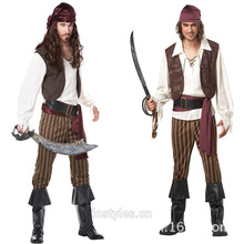 NEW Captain Jack Sparrow Pirate Costume Halloween Men Pirates of the Fashion pirate clothing fat people dress uniforms(China)