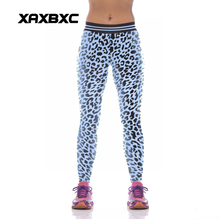 NEW KYK1038 Sexy Girl Women Leopard 3D Prints High Waist Polyester Fitness Leggings Pants Plus Size(China)