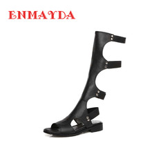 ENMAYDA 2016 Women Sandals Summer Sexy Knee High Boots Elastic band Sandals Women Casual Flats Shoes Designer Boots For Women