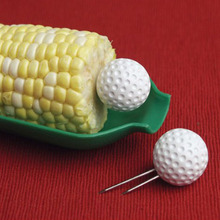 Big Sale 8pcs Golf Ball Corn Holders White Corn Forks Stainless Corn Picks BBQ Skewers Fruit Pins Forks Picnic BBQ Accessories(China)