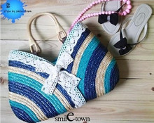 2016 new woven straw beach shoulder handbag lace stripe fashion bolsa feminina casual tote women's hot sale bag