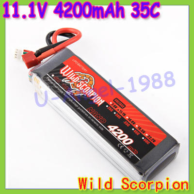 HK Free shipping wild scorpion 100% new Brand RC 11.1V 4200mAh 35C Li-polymer RC Battery JST/RC Battery for helicopters cars<br><br>Aliexpress