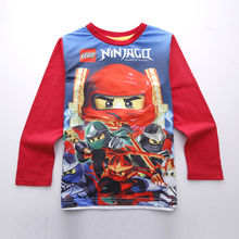 High Quality  Boys clothing Lego ninjago Shirt  for Boy  T-shirts  Long Sleeve Spring Autumn Cotton Kids Clothes