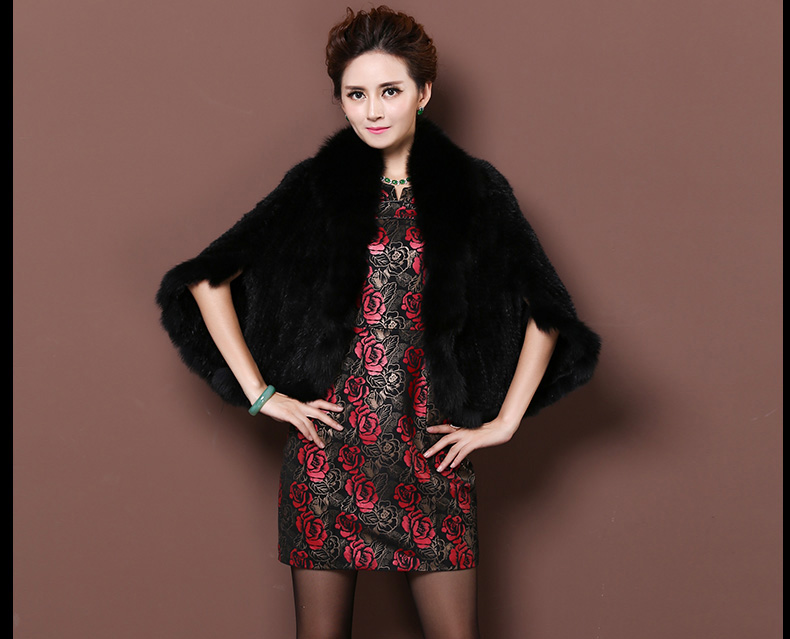 Winter Shawl Wrap Poncho Real Knit Mink Fur shawl With Fox Trimming Real fur Jacket coats party 2017 new (34)