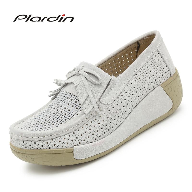 Plardin Women Flat Platform Loafers Ladies Suede Leather Moccasins Fringe Shoes Slip On Tassel Womens Casual Shoes Creeper <br>