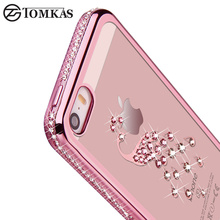 5 5S Rhinestone Silicone Case For iPhone 5S 5 SE 6 S 6s Plus Glitter Diamond Cover For i Phone 5 Fundas Coque Pink Gold Luxury(China)