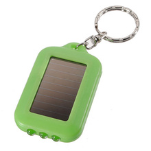 10X Mini Solar Power Rechargeable 3LED Flashlight Keychain Light Torch Ring New - green(China)