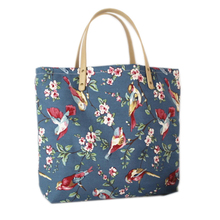 2016 Magpies Birds Pattern Flower in Blue Eco Canvas Handbags Woman Shoulder Beach Bags Hot bolsa compra Female Shopping Tote