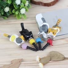 HOIT Super Cute Dust Plug Lucky Cat Playing Ball 3.5mm Anti Dust Earphone Jack Plug Stopper Cap For Phone Wholesale